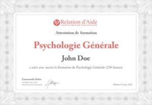 Attestation de Psychologie Générale Thérapeute en Relation d'Aide