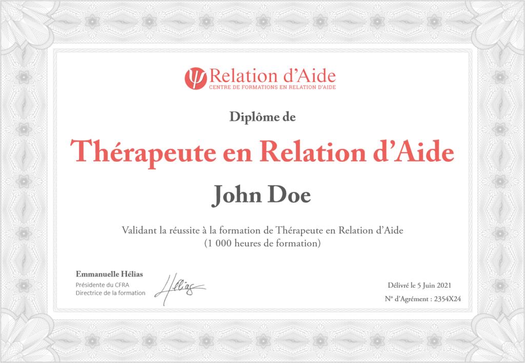 Diplôme Thérapeute en Relation d'Aide